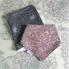 Burp Cloth & Bandana Bib Set | Grey & Purple Design