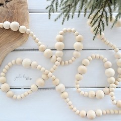 Farmhouse Wood Bead Garland Rustic Eco-friendly Natural Wooden Decorations