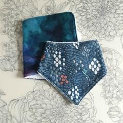 Burp Cloth & Bandana Bib Set | Blue Design