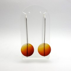 Carnelian disc long sterling silver earrings
