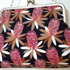 Protea clutch bag with shoulder chain