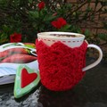 Red cotton mug cozy, coffee cosy, cup warmer, Valentine's, Christmas, birthday