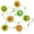 Natural Fibre Beaded Flower Hanging Garland Tropical Summer Parrot Wall Decor