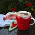 Red cotton mug cozy, coffee cosy, cup warmer, Valentine's, Christmas, birthday