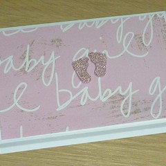 New Baby card  - baby girl - with sweet little feet