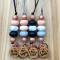 Personalised rose gold neutrals teacher cruising ID badge holder lanyard