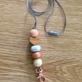 Rosegold love heart with neutrals teacher cruise ID badge holder lanyard