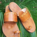 Embossed Indian Style Toe Loop Sandal, Choice of Color & Size