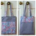 Handy Tote Bag - Grey Paisley - Totally Reversible