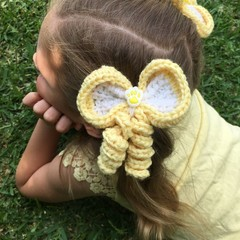 Easter Bunny / Hair Bow / Elastic / Ponytail