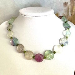 Natural FLUORITE Coin-Shaped Gemstones Beaded Magic Necklace.