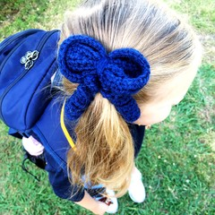 School Hair Bow / Elastic / Ponytail