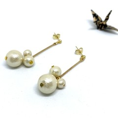 3 Cotton pearls dangle earrings
