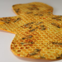 "Bees on Honeycomb 8"" Light Washable Reusable Cloth Menstrual Pad"