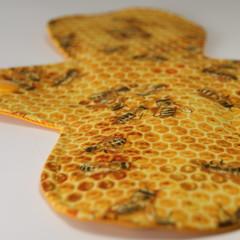 "Bees on Honeycomb 8"" Light Washable Reusable Cloth Menstrual Pad"