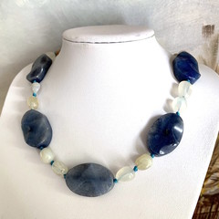 Genuine BLUE AGATE and White AGATE Gemstones Beaded (Knot-work) Necklace.
