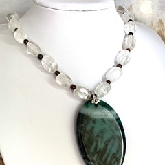 Genuine White CRYSTAL Necklace with Green Dragon Agate Pendant.