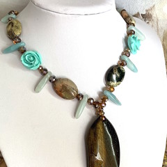 Natural TIGER'S EYE Gemstone Pendant on JASPER, AMAZONITE and Crystal Necklace.