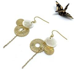 "Fireworks ""Hanabi"" dangle earrings with chain"