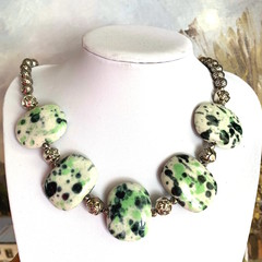 Exquisite Handcrafted Cream-Green Porcelain Artwork, Jewellery Necklace.