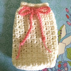 Cream Colour Soap Saver / Body Washer with Coral Pink Trim