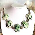 Exquisite Handcrafted Cream-Green Porcelain Artwork, Jewellery Necklace.