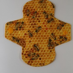 """Bees on Honeycomb 6"""" Liner Washable Reusable Cloth Menstrual Padees on HOneycomb"""