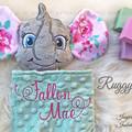 Elephant 'Ruggybud' - personalised, comforter, keepsake, lovey.