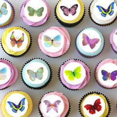 Butterflies Mini Edible Icing Cupcake Toppers - PRE-CUT Sheet of 30 - EI001MC