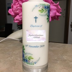 Baptism Candle- Blue Green leaves