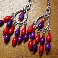 Red and Purple, Red hat Ladies dangling lightweight wooden bead earrings