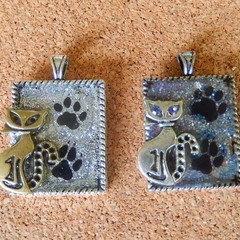 Cats cute kittens, paws silver resin pendants silver or bronze ready to hang
