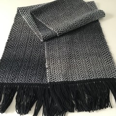 Handwoven Wool / Acrylic Unisex Scarf, Black-Grey Gradient