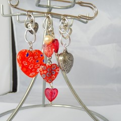 Hearts, Red & white, love brooch, love hearts, kilt pin brooch romance valentine