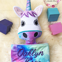 Unicorn 'Ruggybud' - personalised, comforter, keepsake, lovey.