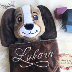 Puppy 'Ruggybud' - personalised, comforter, keepsake, lovey.
