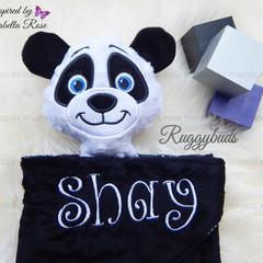 Panda 'Ruggybud' - personalised, comforter, keepsake, lovey.