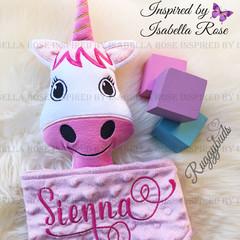 Unicorn 'Ruggybud' - personalised, comforter, keepsake, lovey.