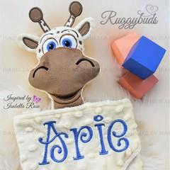 Giraffe 'Ruggybud' - personalised, comforter, keepsake, lovey.