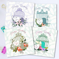 Birdcage and Florals Card Set