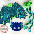 Appliqued 'Dragon' Wings, Embroidered Mask & Flying Ribbons