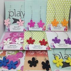 Wood flower drop earrings