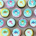 Baby Shark Mini Edible Icing Cupcake Toppers - PRE-CUT Sheet of 30 - EI002MC