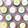 Baby Boy Pre-cut Mini Edible Icing Cupcake Toppers - Sheet of 30 - EI008MC