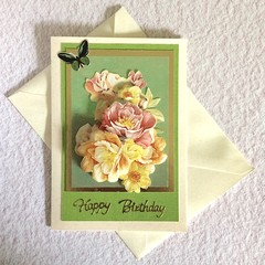 Beautiful  Bouquet and Butterfly Birthday Card