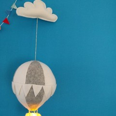 Nightlight Air Balloon Large Grey/White