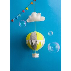 Nightlight Air Balloon Small Yellow/Grey (With Bunting)