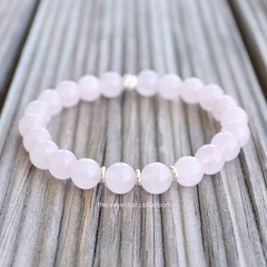 Sterling Silver Gemstone Bracelet Rose Quartz Healing Crystal Spiritually