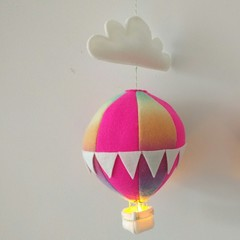 Nightlight Air Balloon Large Pink/Rainbow
