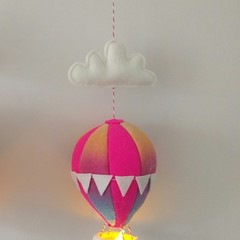 Nightlight Hot Air Balloon Small Pink/Rainbow